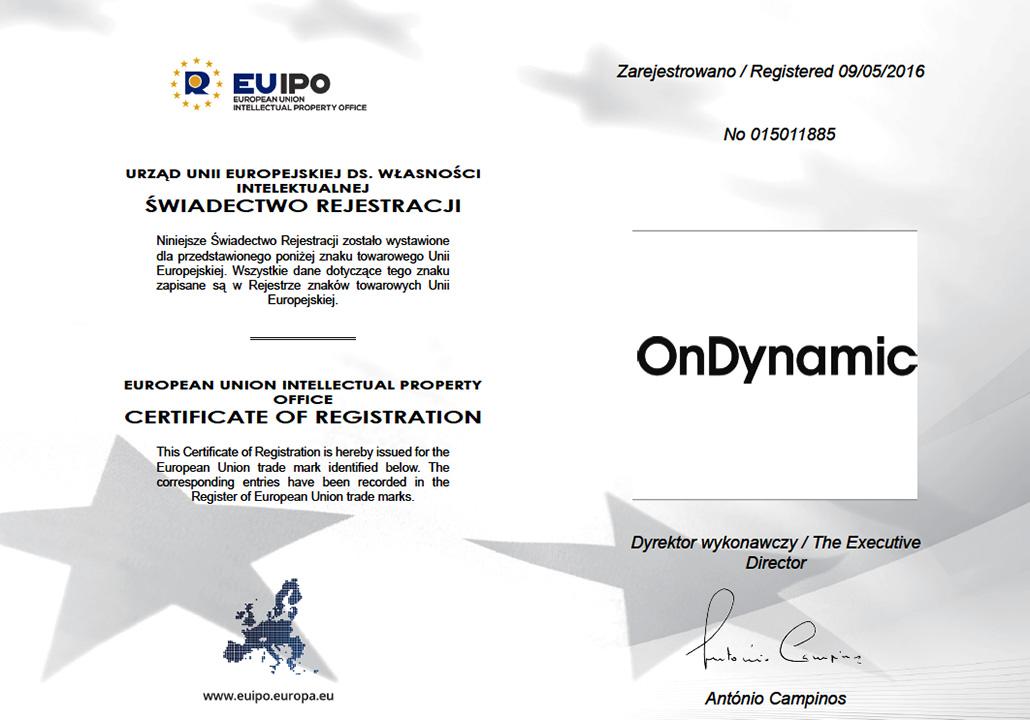 OnDynamic - świadectwo rejestracji